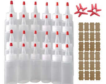 24/pk 2oz Plastic Squeeze Bottles Yorker Caps for Cake Decorating Paint Crafts Condiments Replacement Long Over-Cap Tips & Kraft Label Bonus