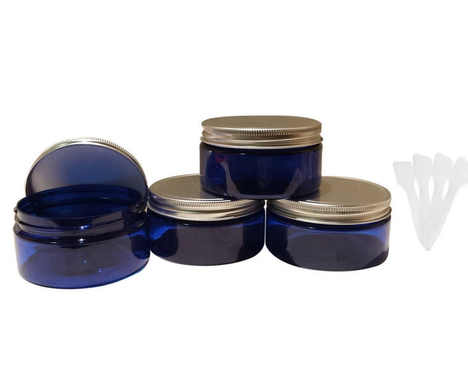 8oz Blue Plastic Jars PET Heavy Wall Low Profile Wide Mouth Jars w/ Air Tight Leak Proof Lined Aluminum Lined Lids & Spatulas 1 or 4/pk