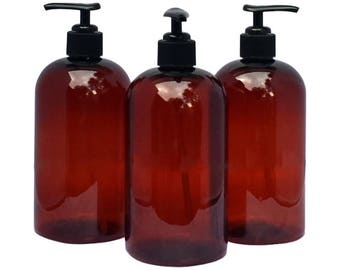 16 oz Plastic Bottles Amber PET Round Bottles w/ Black Lotion Pumps Available in 1, 3, 6 or 12 + Kraft Labels