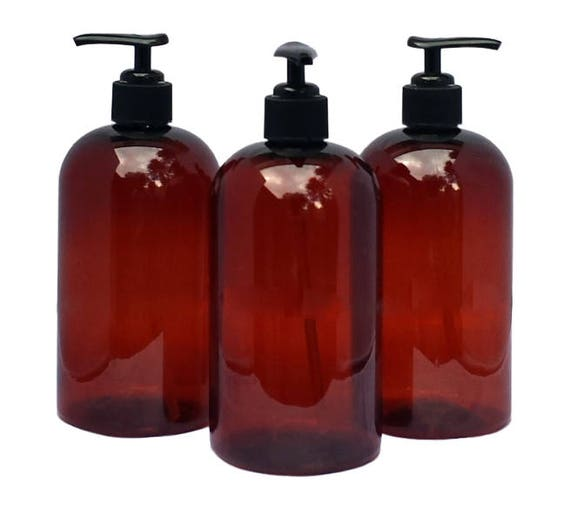 16 oz Plastic Bottles Amber PET Round Bottles w/ Black Lotion Pumps Available in 1, 3, 6 or 12 + Kraft Labels