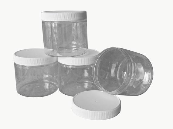 16 oz PET Plastic Jars Clear w/ white caps Qty 4 - Perfect for DIY lotion, creams, bath salts etc + Chalkboard labels