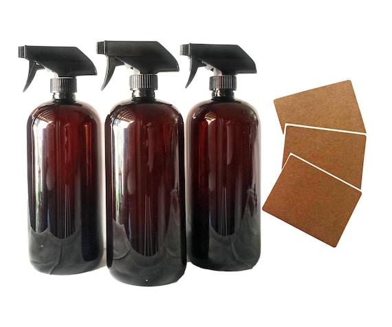 32oz Plastic Bottles Amber PET Round Bottles w/ Black Trigger Spray Available in 1, 3 + Kraft Labels