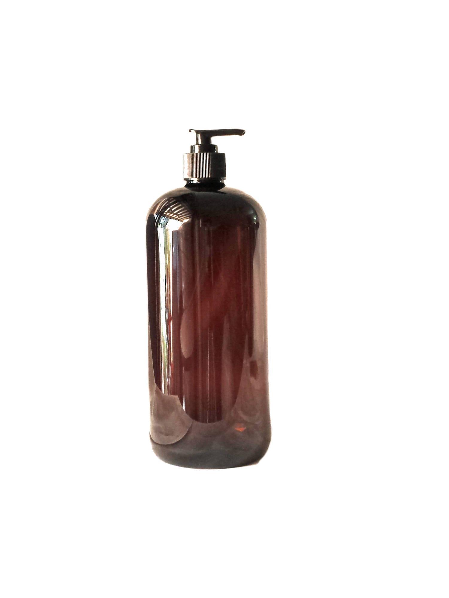 917370c36b19 32oz Plastic Bottles Amber PET Round Bottles w/ Black Lotion Pumps ...