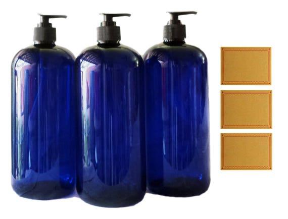 32oz Plastic Bottles Cobalt PET Round Bottles w/ Black Lotion Pumps Available in 1, 3 + Kraft Labels