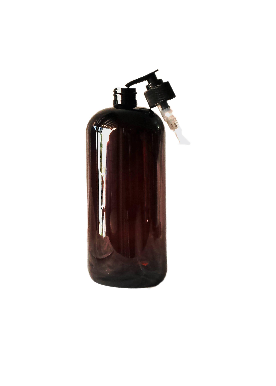 8f62227cf2b8 32oz Plastic Bottles Amber PET Round Bottles w/ Black Lotion Pumps 1/pk