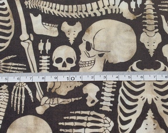 Halloween Skeleton Bones  Fabric 100% Cotton - Quilting - Sewing - Patchwork - English Paper Piecing