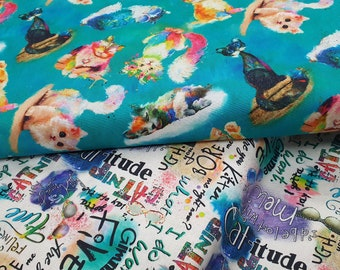Good Kitty Fabric - Cat Fabric - Cat Words Fabric Sewing Quilting 100% Cotton - Quilting - Sewing - Patchwork