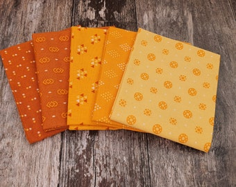 Yellow Essentials 5 Piece FQ Fabric Bundle - Sewing - English Paper Piecing - Patchwork - Quilting - Slow Stitching