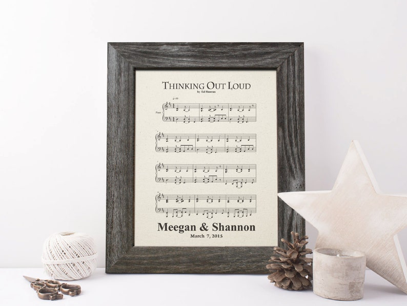 2nd anniversary gift for men Authentic Sheet Music Cotton image 0