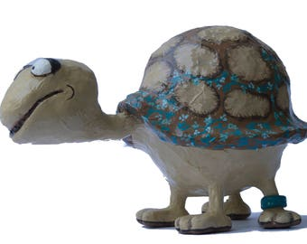 The Shy Turtle.  Mother Day, Collectyibles, gift ideas, paper mache, birthday, sculpture art, sculpture, present for mom, unique gift, craft