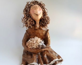 A girl with an ewe. For Mother Day, Collectyibles, gift ideas, paper mache, birthday, sculpture art, sculpture, present for mom, unique gift