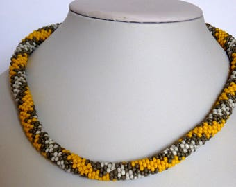 Necklaces, handmade, necklaces for women, jewelry, perfect gift, crochet necklace, bead crochet, free shipping, yellow gray