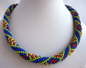 Necklaces, handmade, necklaces for women, jewelry, perfect gift, crochet necklace, bead crochet, free shipping, blue, green