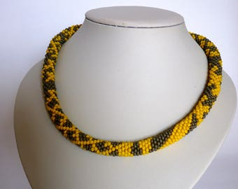 Necklaces, handmade, necklaces for women, jewelry, perfect gift, crochet necklace, bead crochet, free shipping, yellow, gray