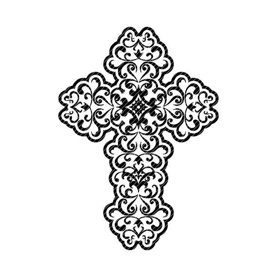 Ornate Cross Swirl Clipart Vector Graphics Cut Files Mandala Etsy