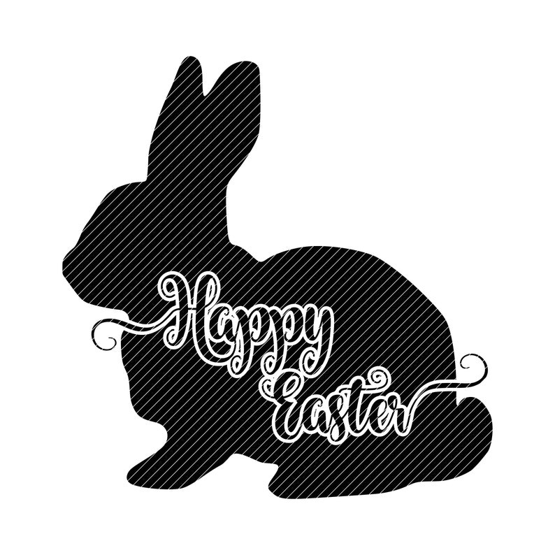 Happy Easter, knockout bunny rabbit silhouette clipart vector graphics cut  files mandala svg jpg ping cricut cameo