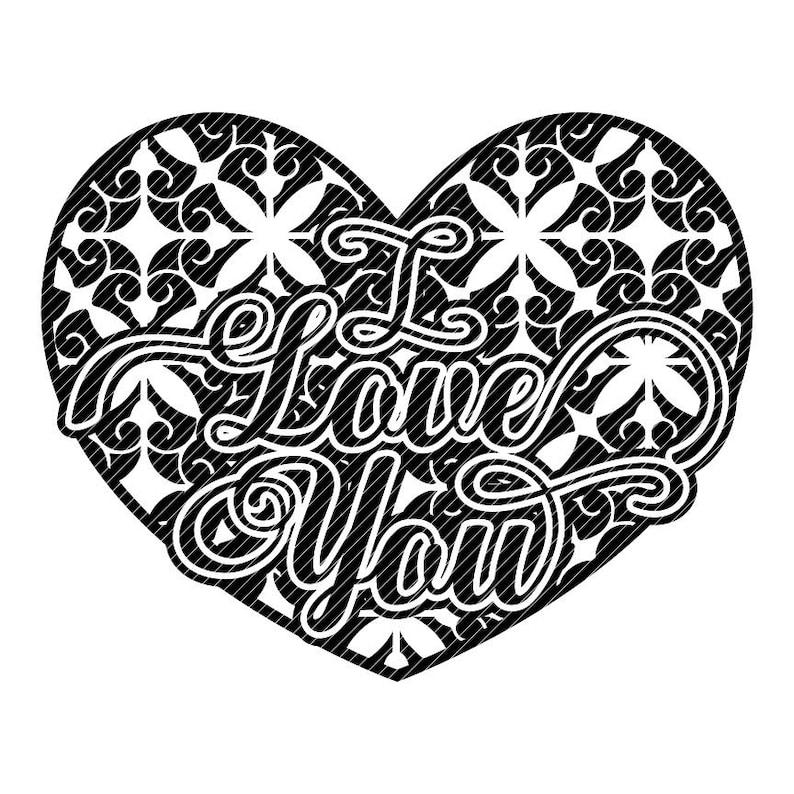 Download Damask I LOVE YOU scroll heart floral Valentines mandala svg | Etsy