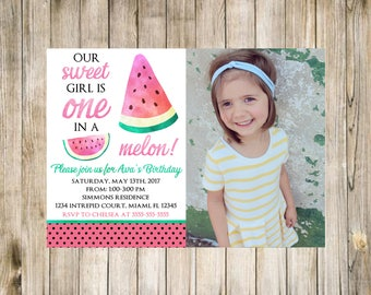 Watermelon Girl First Birthday Invitation Photo Summer with picture First Digital Gold Pink 1st Polka dots Spring Invite Melon