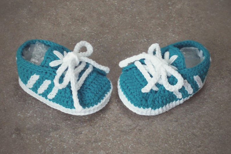 Newborn Adidas Crochet Baby Shoes 100 Cotton Adidas Baby Etsy