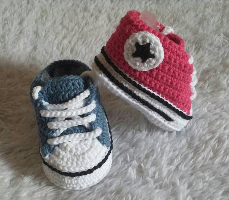 Scarpine Stile Converse Alluncinetto Crochet Baby Shoescrochet Conversescarpine Neonatobaby Footwearnewborn Shoescrochet Uncinetto
