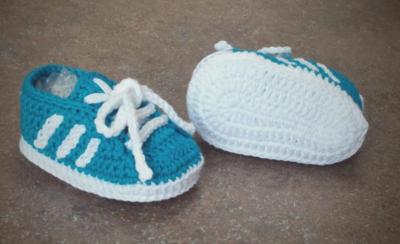 fc236d1c410ad Handmade crochet baby shoes 100% cotton Adidas style