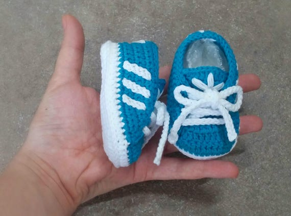 Handmade crochet baby shoes 100% cotton Adidas style
