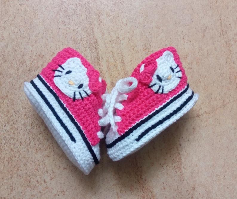 Hello Kitty Crochet Converse Shoes Hello Kitty Crochet Baby Etsy