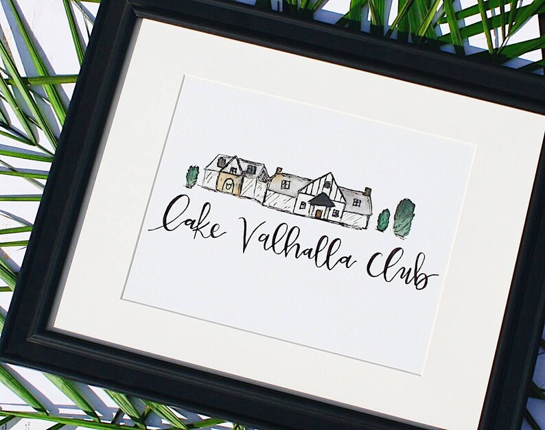 Handpainted Watercolor Customized Wedding Venue  Calligraphy image 0