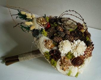 Wedding Bouquet, woodland wedding, Autumn style, Rustic Bouquet, Woodland Sola Flower Bouquet, Handmade Bridal Bouquet, Romantic weddings
