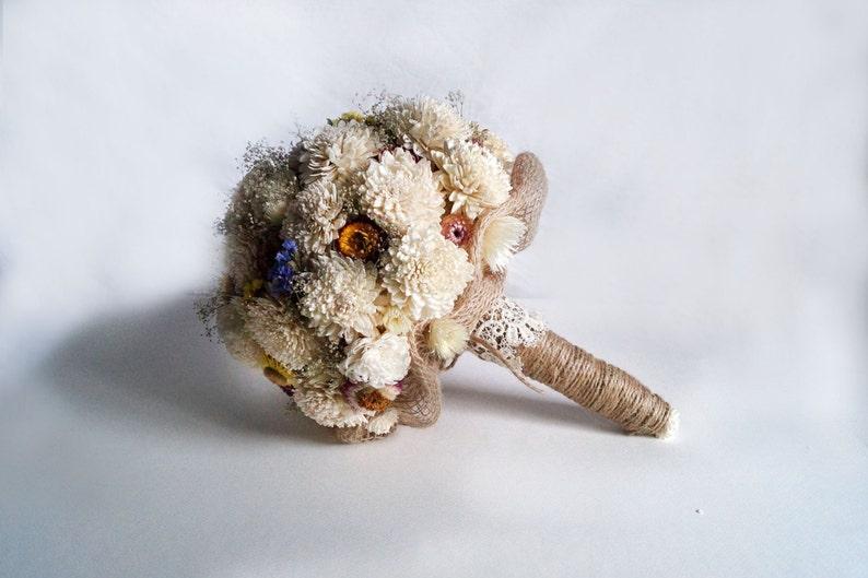 Wedding Bouquet Bridal Bouquet Rustic Bouquet Woodland Sola Flower Bouquet dried flowers wild flowers Burlap and Lace Romantic weddings