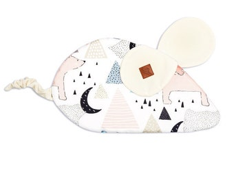 Fish in Jar Pillow Mouse cuddly toy felt pillow velvet cotton pillow blue nursery pillow baby shower for baby boy comforter