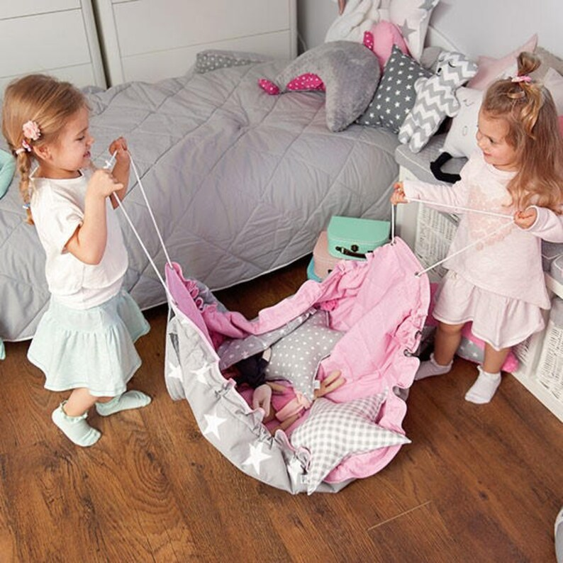 Bag for Toys Grab and Go Mat Travel Bag Grey Little Stars fun mat Toy Bag Sack for Toys Beach Bag Play Mat /& Bag Round Play Mat