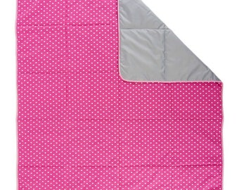 Picnic Mat - Picnic Blanket, Grab and Go Picnic Mat, Outdoor Mat, Pink Hearts, Beach Blanket, Travel Blanket, Camping Mat - Romantic Fuchsia