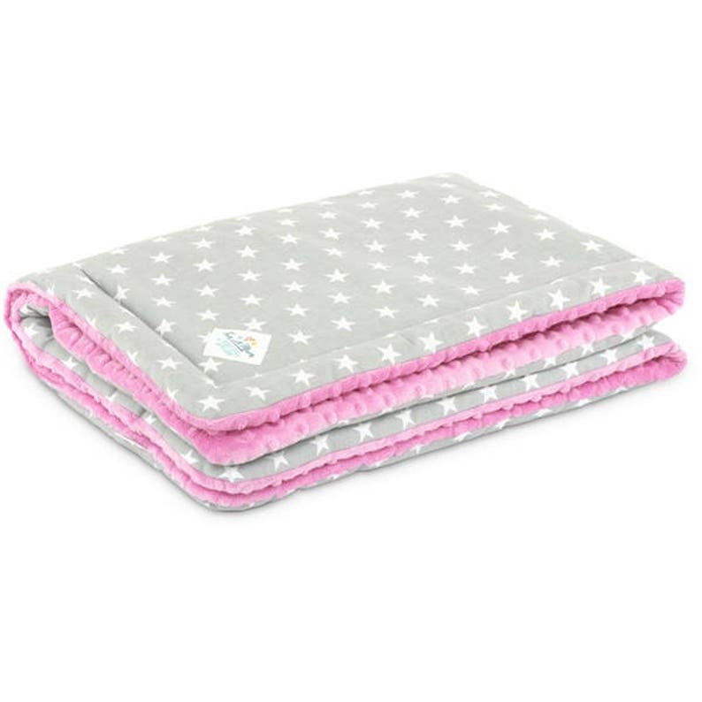 Grey and Pink Blanket Blanket Set for Child L Quilt and Pillow for Child Candy Star Stars Blanket Bedding Set Minky Baby Blanket