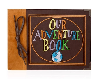 Our Adventure Book Photo Album Anniversary Wedding Scrapbook |  Embroidered Leather Hard Cover | Thread-Bound Book