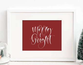 Merry & Bright Handwritten Modern Calligraphy Art Print // Christmas Art, Farmhouse Christmas, Holiday Handwritten Decor, Winter Wall Art