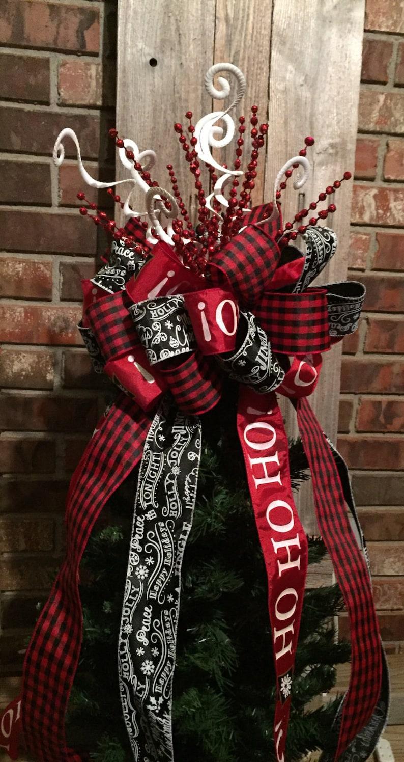 Christmas Tree Bow Topper Large Red White Black Buffalo | Etsy