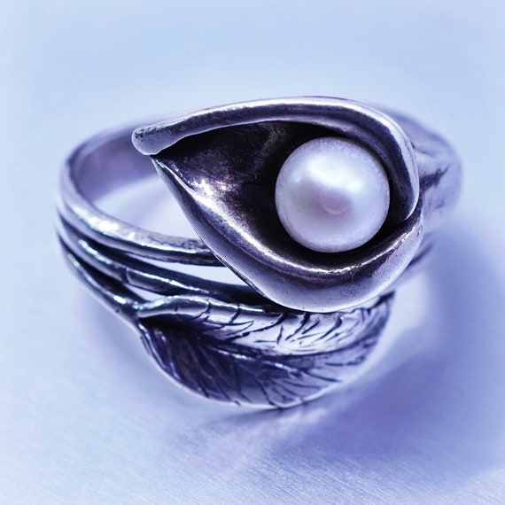 SHABLOOL Israel Band Ring Women 925 Sterling Silver Rose Flower w// Pearl size 7