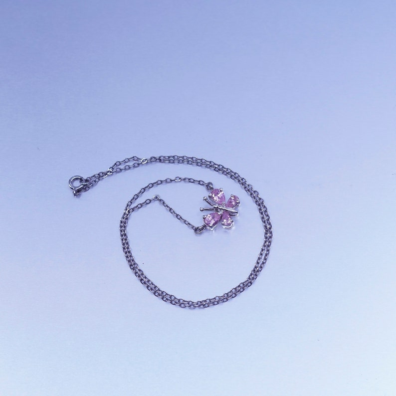 vintage Sterling 925 silver handmade flatten circle necklace with butterfly pendant and pink Cz stamped 925 16\u201d