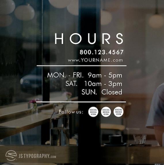 Business Hours Decals Social Media Decals Social Media