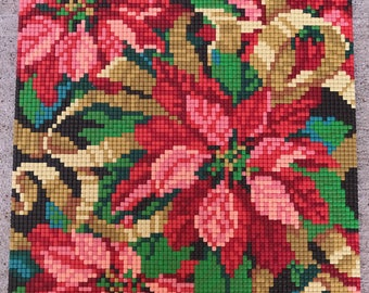 Finished, Completed Mosaic Pixel Art, Poinsettias II, Christmas, XMAS Flowers