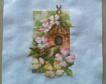 Four Seasons Spring Finished Cross Stitch, 18ct white aida 3x4.5 Vervaco