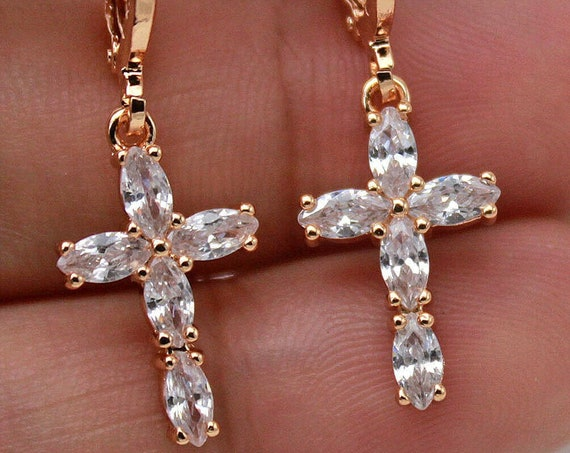 Lovely 18ct gold filled clear and glass religious cross dangle earrings