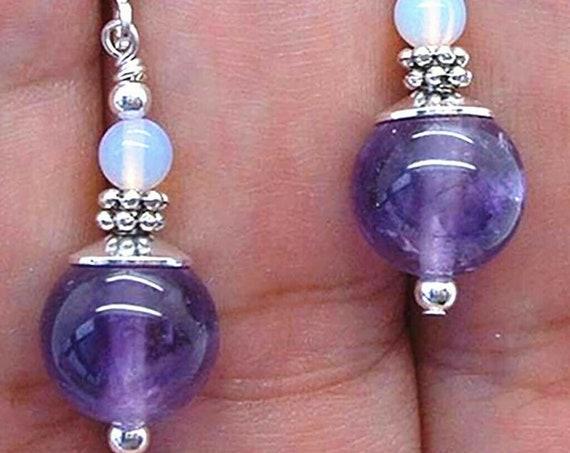 Pretty 10mm Amethyst & Moonstone Leverback Dangle Earrings