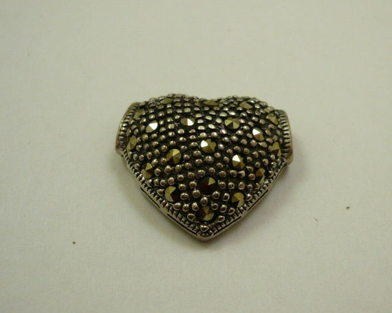 Vintage sterling silver marcasite heart shaped pendant