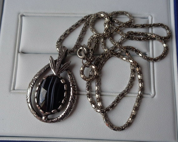 Lovely vintage silvertone Scottish black and white glass pendant necklace signed Miracle