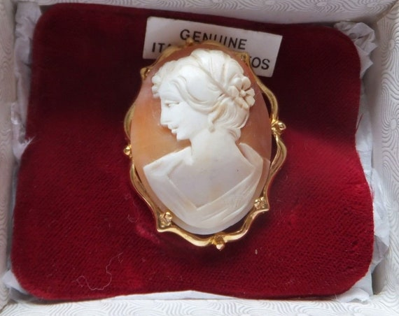 Beautiful Vintage Italian carved shell cameo lady brooch in box
