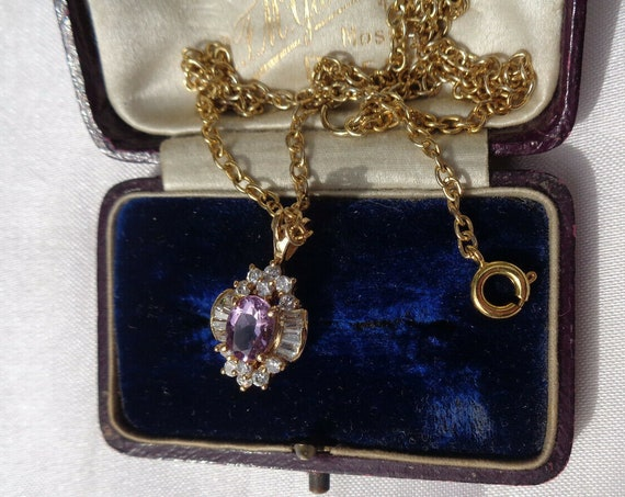 Pretty vintage delicate goldplated amethyst and clear glass pendant necklace