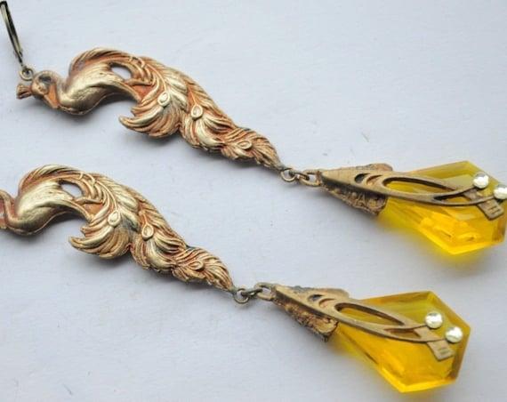 Lovely vintage 1940s Czech Nouveau yellow glass peacock dropper earrings