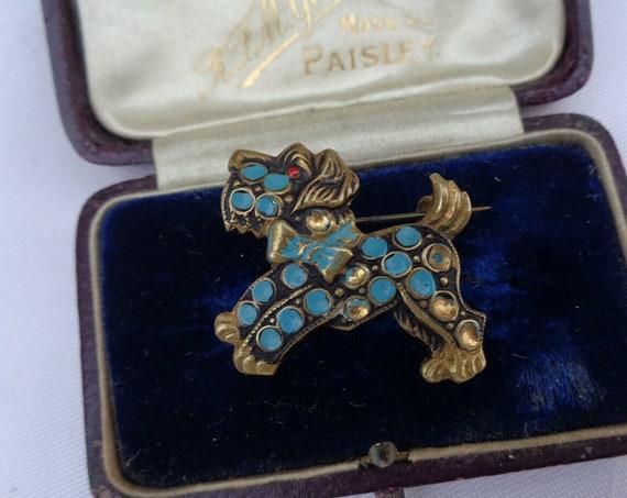 Beautiful vintage Art Deco Scottie Dog goldtone blue enamel brooch